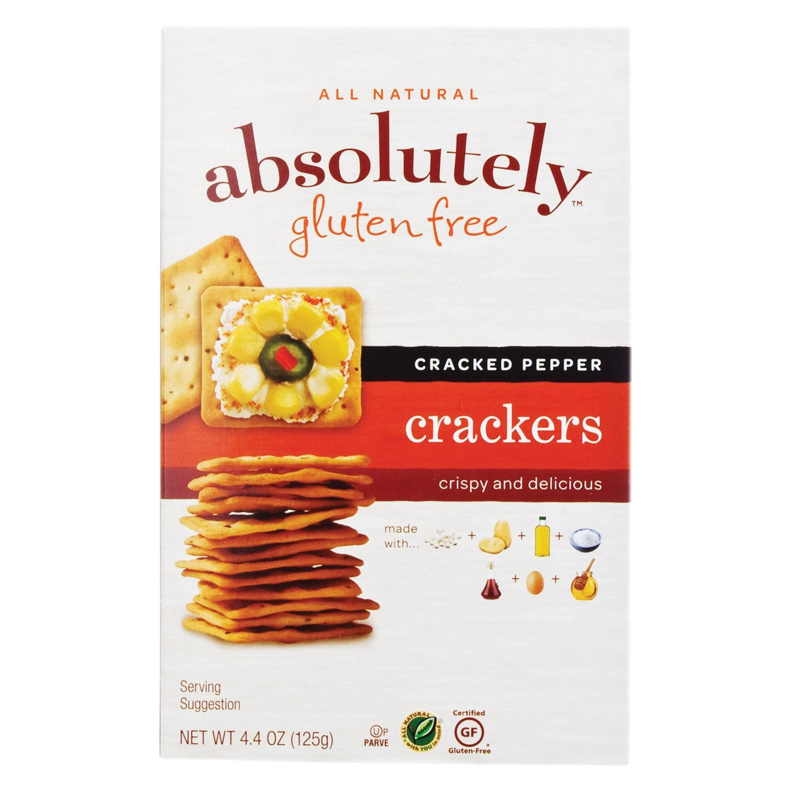 Absolutely Gluten Free Crackers - Cracked Pepper - Pack of 12 - 4.4 Oz.