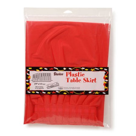 Plastic Table Skirt - Red - 29 inches x 14 feet