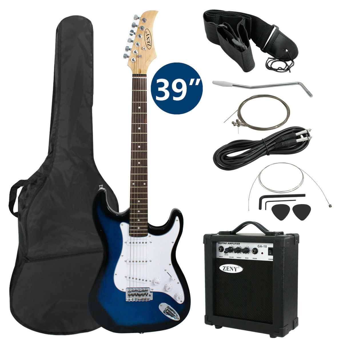"Zeny 39"" Full Size Electric Guitar with Amp, Case and Accessories Pack Beginner Starter Package, Blue"
