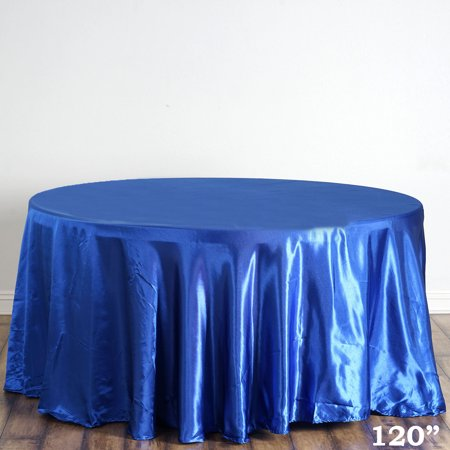 "BalsaCircle 120"" Round Satin Tablecloth Table Covers for Party Wedding Reception Catering Dining Home Table Linens"