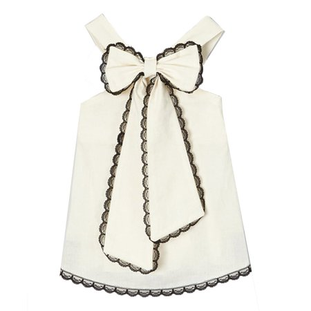 Scalloped Trim Top (Girls Ivory Black Scalloped Lace Trim Bow Accent Sleeveless Shirt 7-10 )