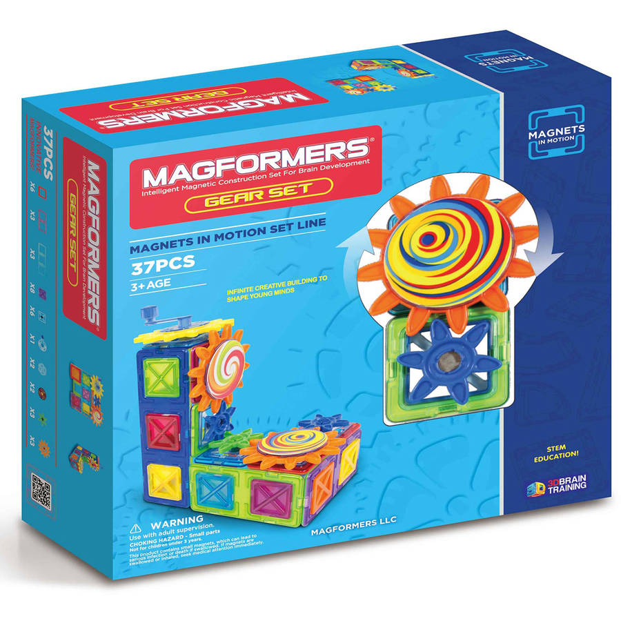 Magformers Magnets in Motion 37-Piece Magnetic Construction Gear Set