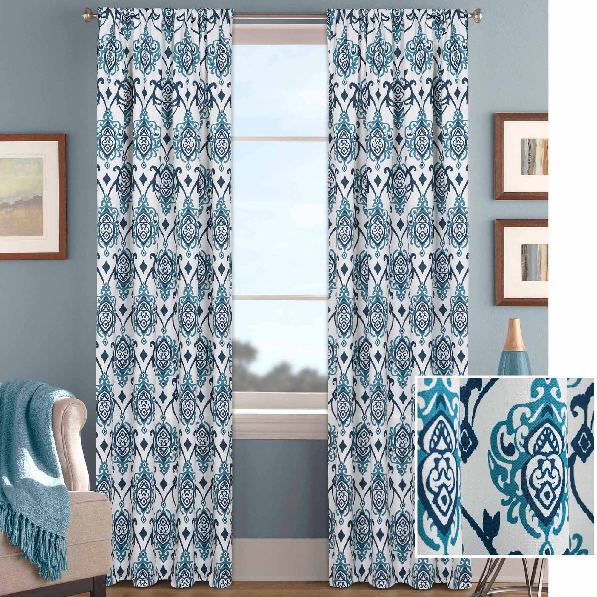 Better Homes and Gardens Damask Curtain Panel