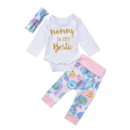 07bb260536df2 Toddler Kids Baby Girls Romper Floral Pants Leggings Headband Clothes  Outfit Set