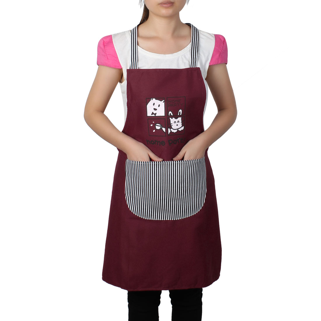 Women Home Kitchen Restaurant Bib Cooking Pocket Aprons Burgundy