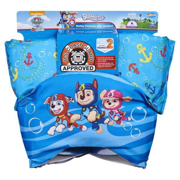 SwimWays Swim Trainer Squirter Life Jacket , USCG Approved, Paw Patrol Chase