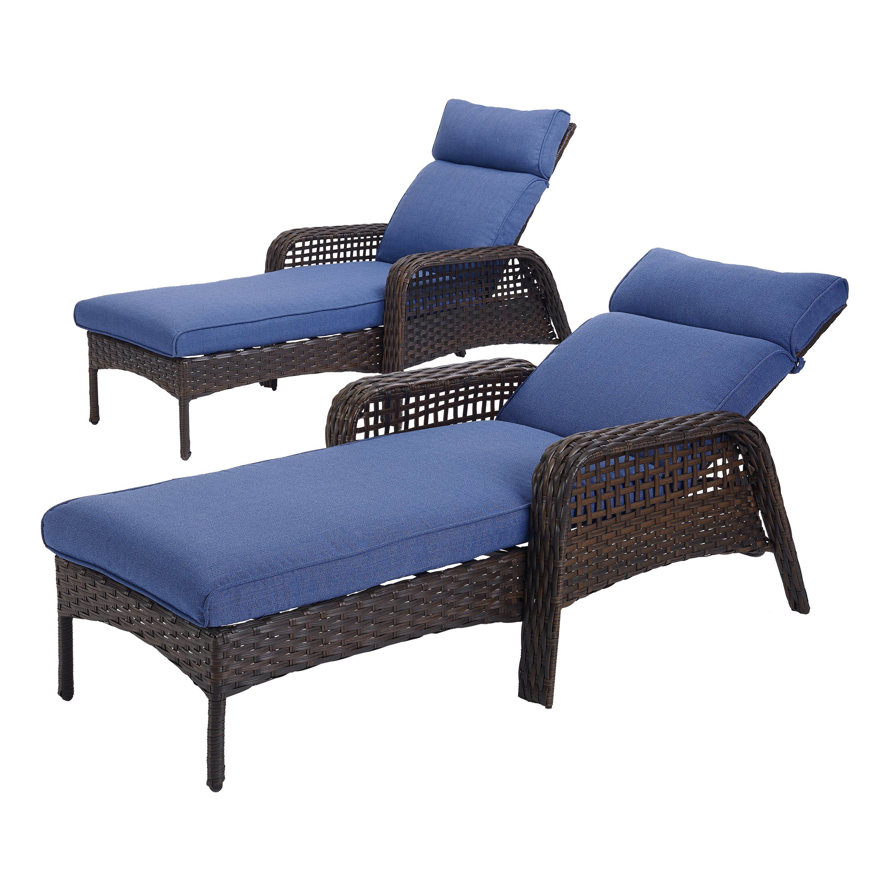Better Homes & Gardens Ravenbrooke Patio Chaise Lounge Chair with Blue Cushions
