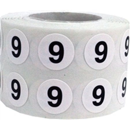 Circle Dot Number 9 Stickers, 0.5 Inch Round, 1000 Labels on a Roll