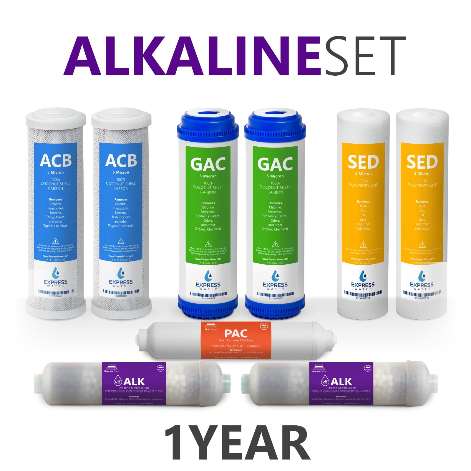 1 Year - Alkaline System Replacement Filter Set 9 Total Filters Alkaline Post Inline Carbon CTO GAC Sediment