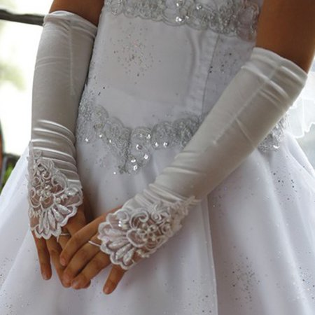 Girls Long Gloves (Angels Garment Girls White Long Fingerless Special Occasion)