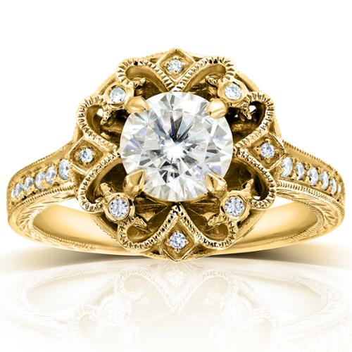 Annello by Kobelli 14k Yellow Gold 1 1 5ct TGW Moissanite (HI) and Diamond Floral Vintage Engagement Ring by Overstock