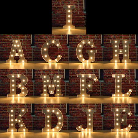 (12'' Metal Marquee LED Letter Vintage Circus Style Alphabet Letter Nightlight Lamp Sign Light Up Bridal Wedding Party Home Decoration)