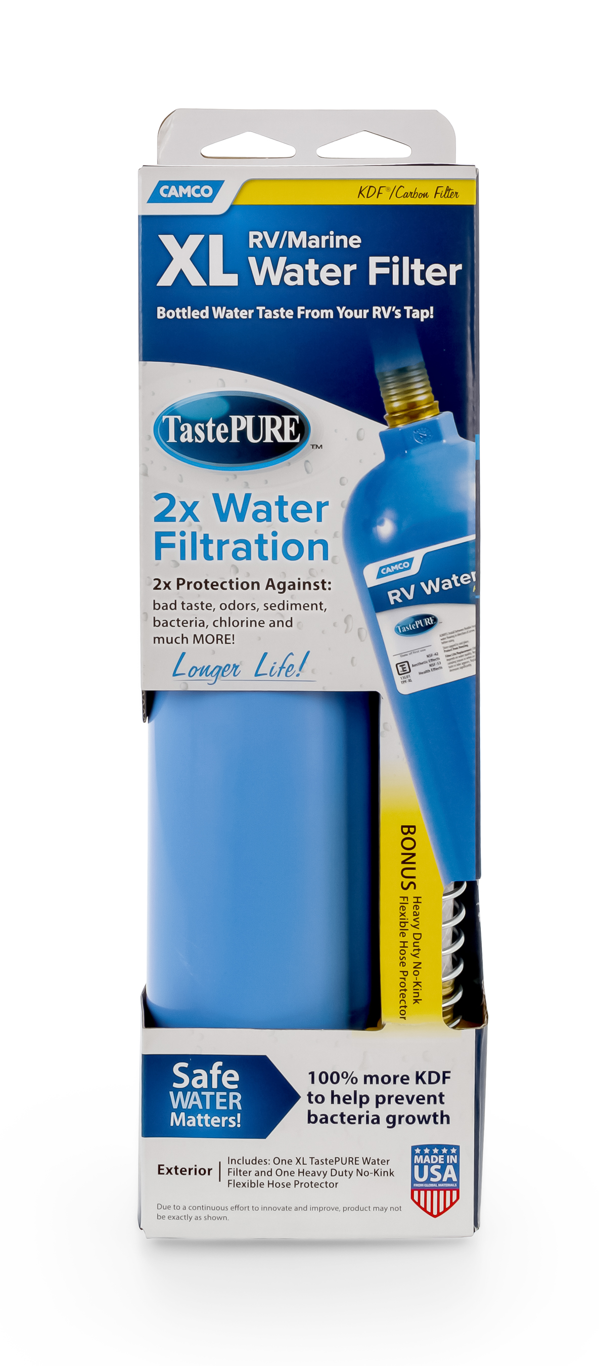 Camco 40019 Tastepure Extra Large Inline Water Filter With Flexible Hose Protector 2x As Many Gallons Greatly Reduces Bad Taste Odors Chlorine And Sediment In Drinking Water Walmart Com Walmart Com
