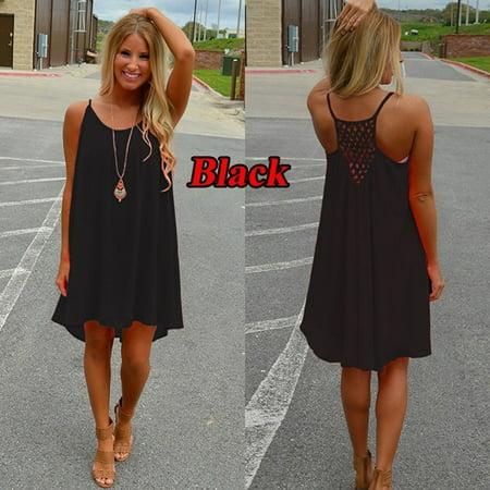d1714327b3 VISTA - Sexy Women's Summer Casual Sleeveless Evening Party Backless  Beachwear Mini Dress - Walmart.com