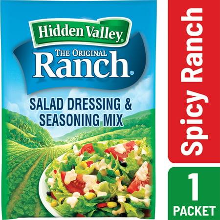 (4 Pack) Hidden Valley Spicy Ranch Salad Dressing & Seasoning Mix, Gluten Free -1