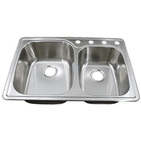 - CI DI-6040 20 Gauge Top Mount Stainless Steel 4 Hole Drop-In 60-40 Double Bowl Sink