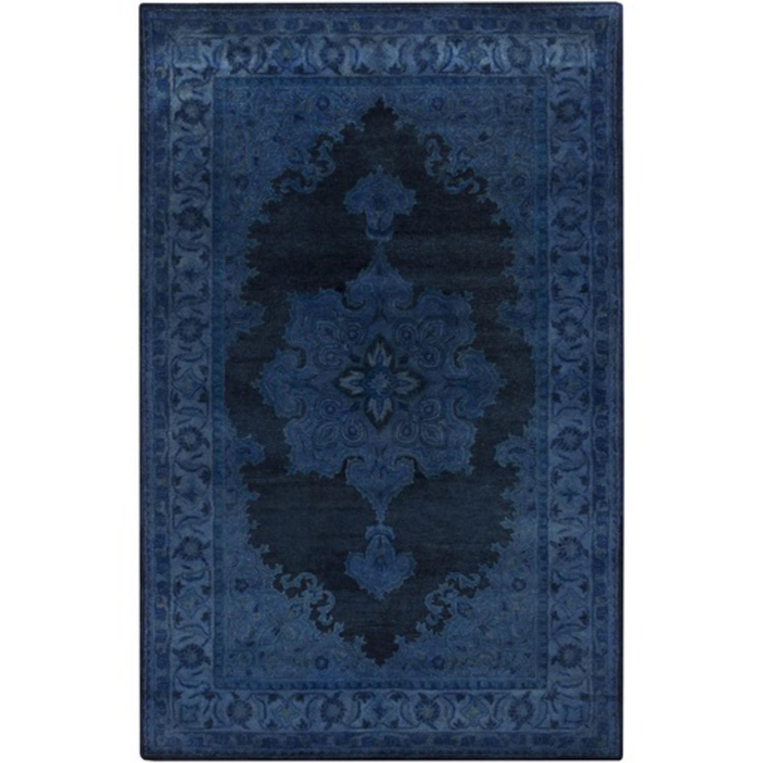 3.25' x 5.25' Cycladic Fantasy Steel Blue and Navy Hand Tufted Area Throw Rug