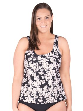 66ac074a3fa Product Image Underwire Plus Size Swimwear Tankini Top, Black with Silver  Foil. Mazu