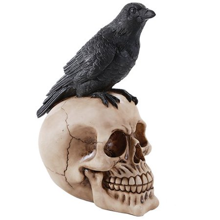 Perched Raven On Skull Poe Raven Figurine Halloween Home Decor Gift](Halloween Spells)