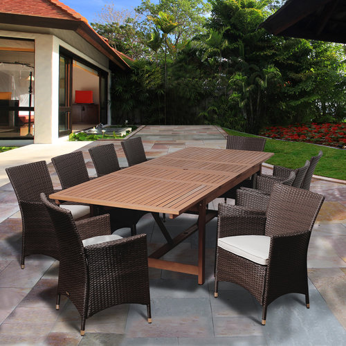 August 11-Piece Eucalyptus/Wicker Extendable Rectangular Patio Dining Set with Off-White Cushions