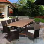 August 11-Piece Eucalyptus Extendable Patio Dining Set, Off-White Cushions