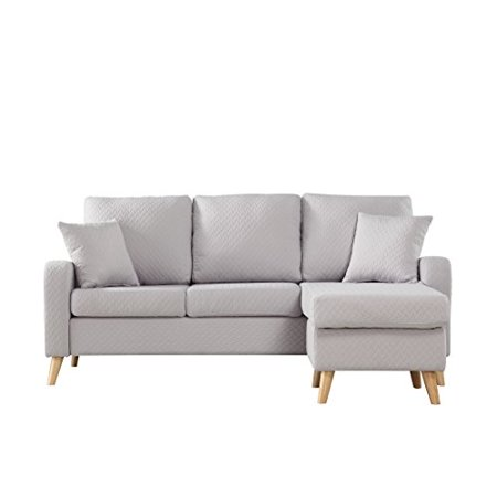 Mid Century Modern Linen Fabric Small Space Sectional Sofa
