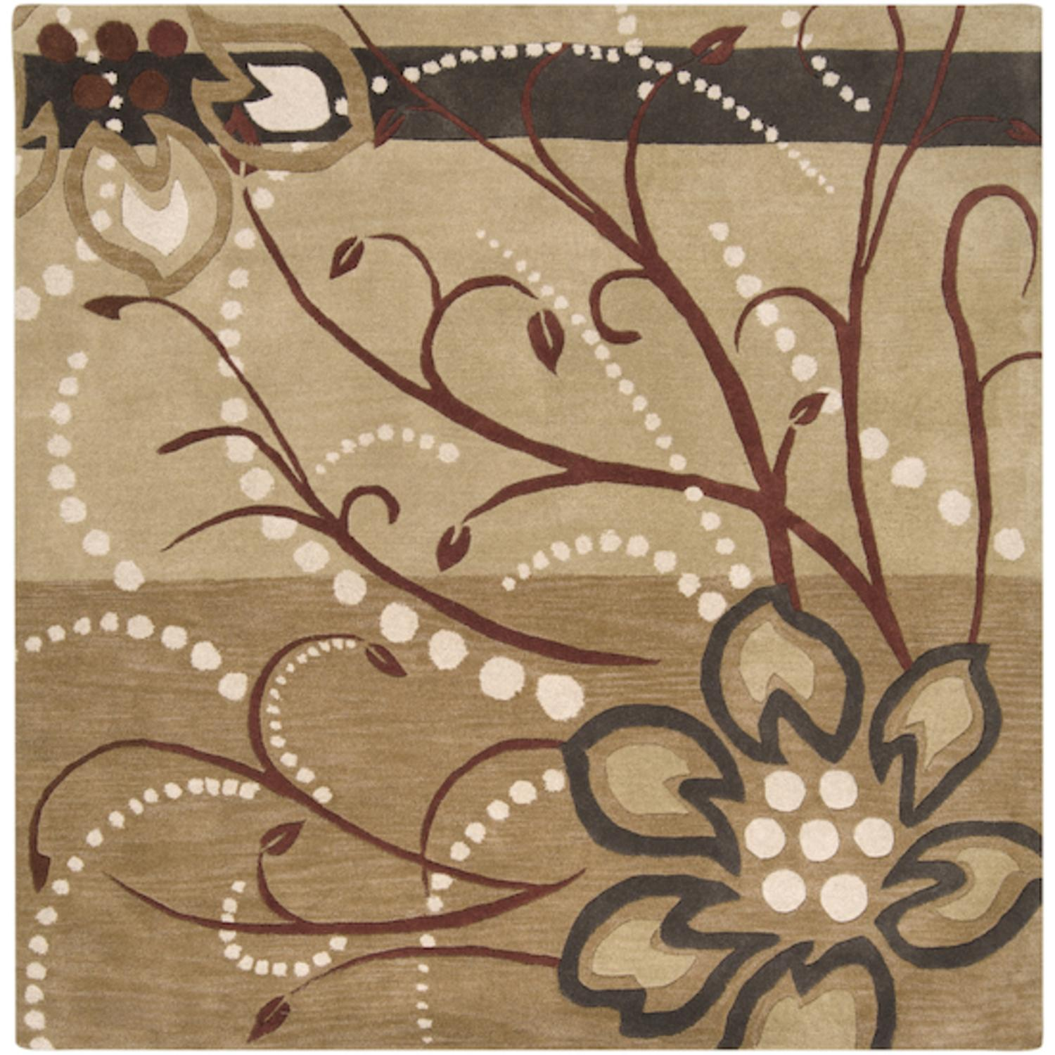 4' x 4' Cannonball Tree Golden Brown and Dark Khaki Wool Square Area Throw Rug