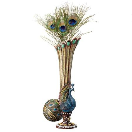 Design Toscano Peacock Bud Vase: Set of Two Teardrop Bud Vase