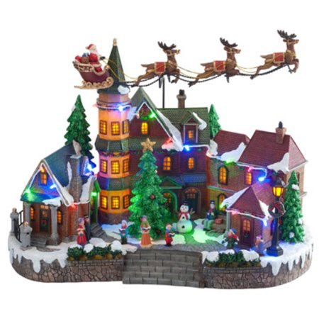 Natures Mark-Import NM-X11647FA LED Santa Village Scene, Animated