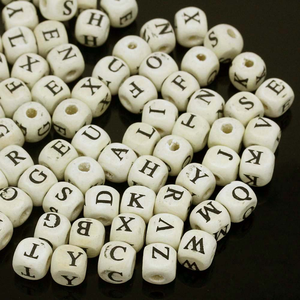 "280 Black /Off White Wood Alphabet /Letter ""A-z"" Cube Spacer, Loose Beads, 10mm"