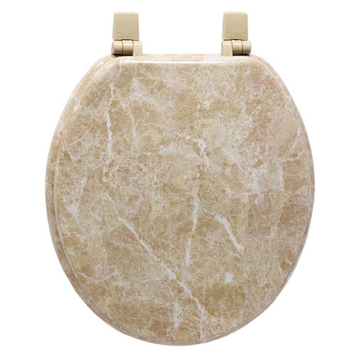 Trimmer Marbleized Molded Wood Toilet Seat in Tan