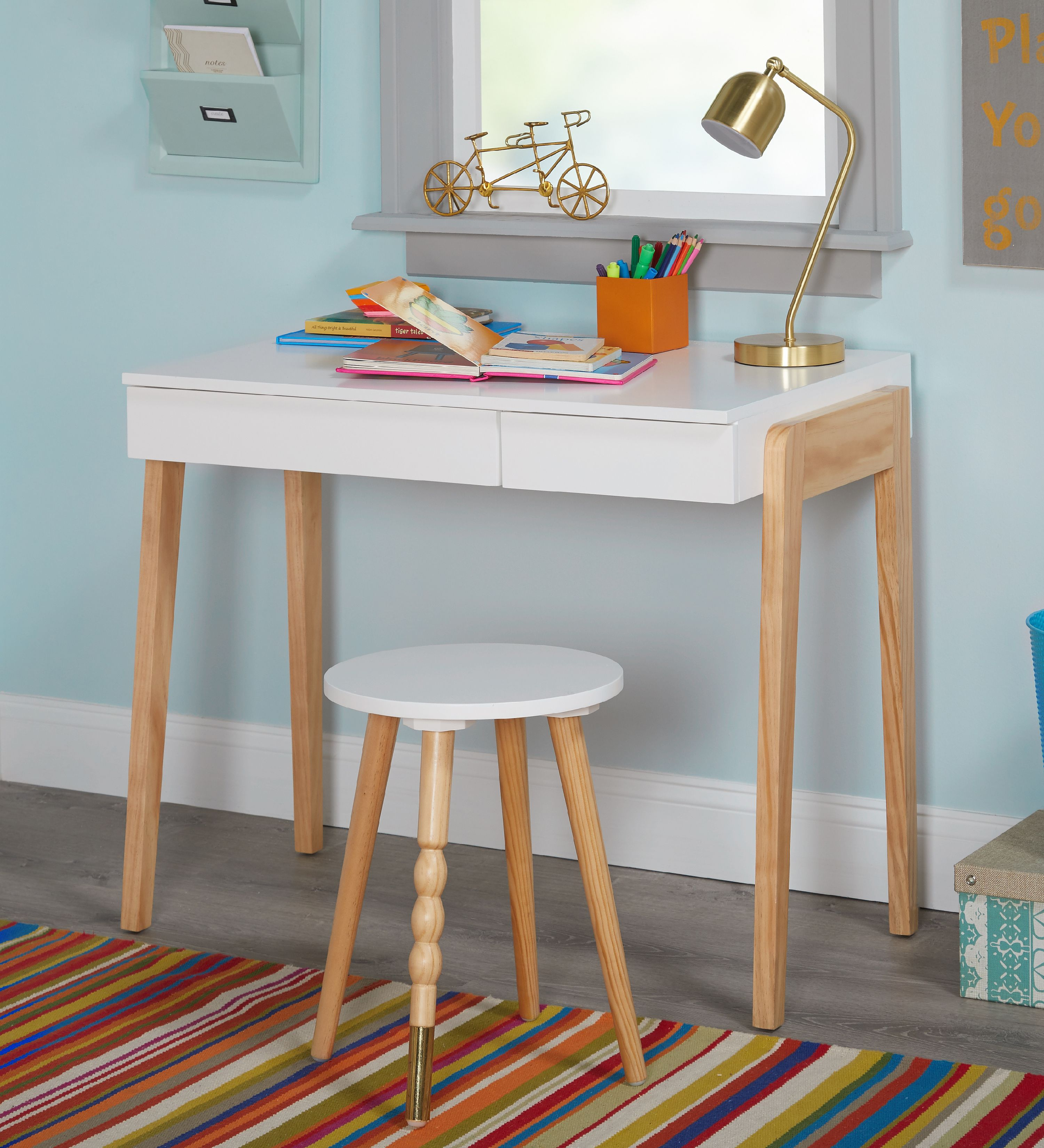 TMS Riley Kids Writing Desk with Stool Set, Multiple Colors
