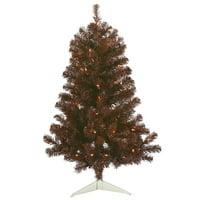 """Vickerman Artificial Christmas Tree 3' x 19"""" Mocha Tree Dura-lit LED 50 Warm White Lights"""