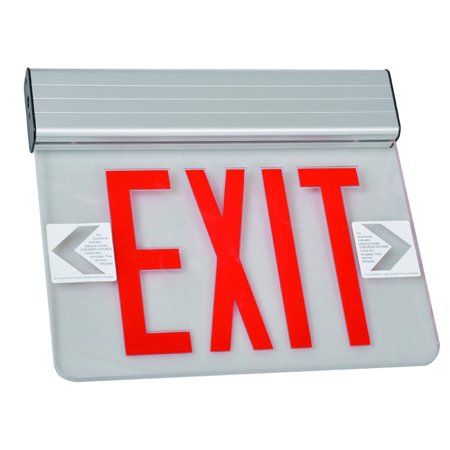Surface Mount Edge Lit Exit Sign Single Sided Legend Red LED Aluminum Housing Aiphone Led Surface Mount Door