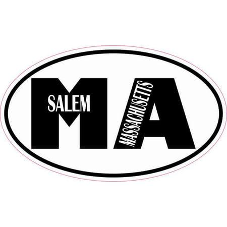 5in x 3in Oval MA Salem Massachusetts Sticker Car Truck Vehicle Bumper Decal](Halloween In Salem Ma)