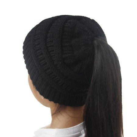 d53af912048 SENFLOCO - Kids Beanie Hat Tail Knit Hat -Winter Warm Beanie Tail Soft  Stretch Cable Knit Messy High Bun Ponytail Beanie Hats for Children Girls  (3-12 Years ...