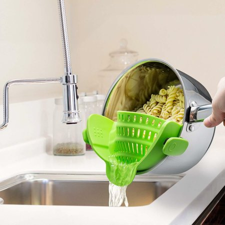 FeelGlad Clip-on Kitchen Silicone Food Strainer, Green - Dishwasher Safe Colander and Drainer, Flexible Fit All Size Pots, Pans, Bowls - Cleaning Filter