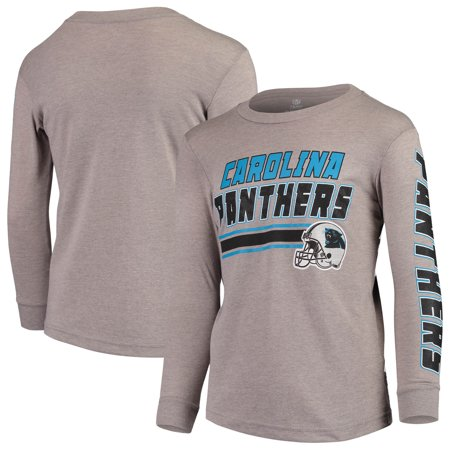 buy online a06f6 58f86 Youth Gray Carolina Panthers Tri-Blend Long Sleeve T-Shirt