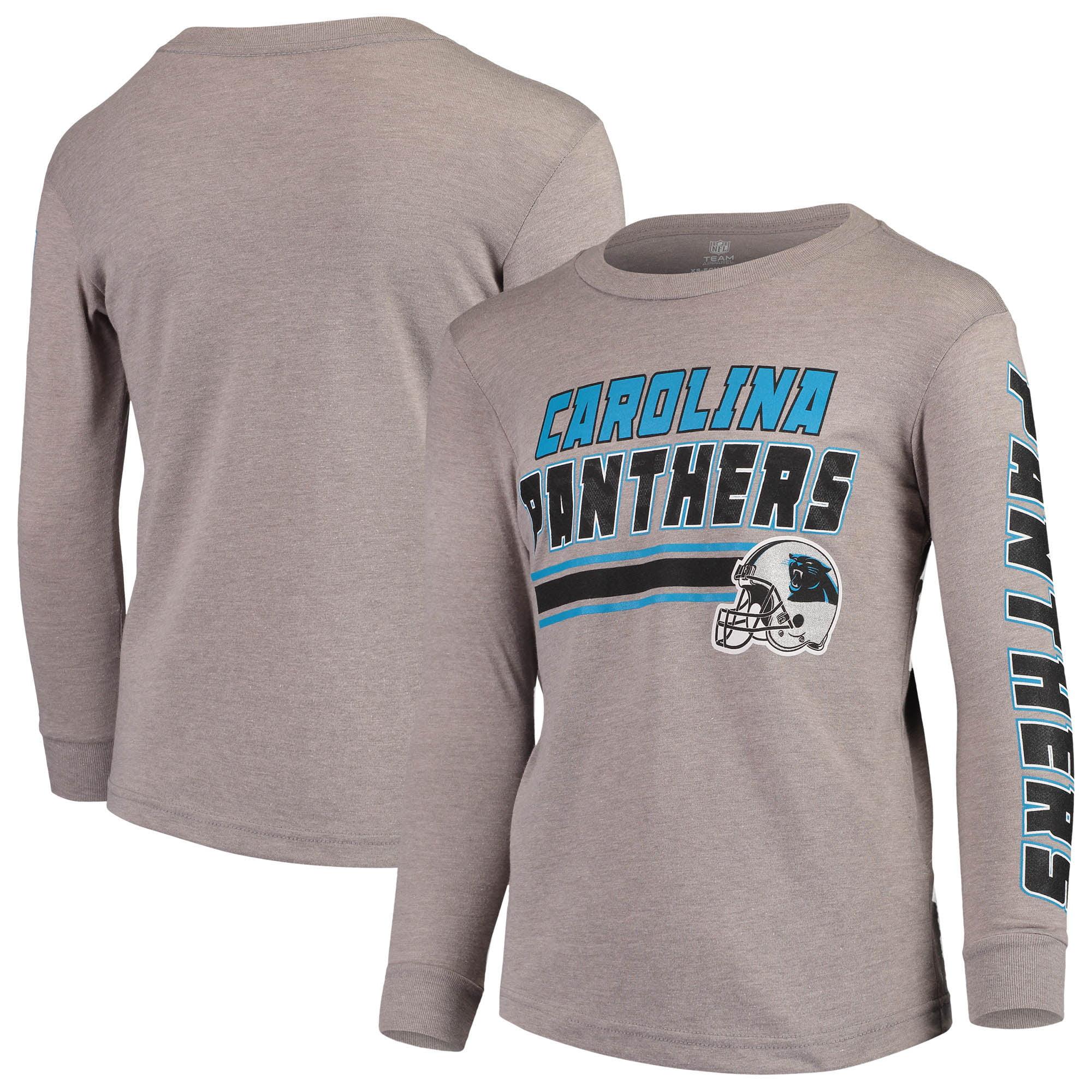 Youth Gray Carolina Panthers Tri-Blend Long Sleeve T-Shirt