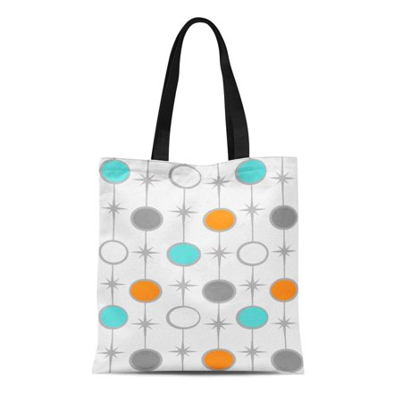 LADDKE Canvas Tote Bag Customizable Dots and Starbursts Color Mid Century Modern Turquoise Reusable Handbag Shoulder Grocery Shopping (Best Mid Range Handbags)