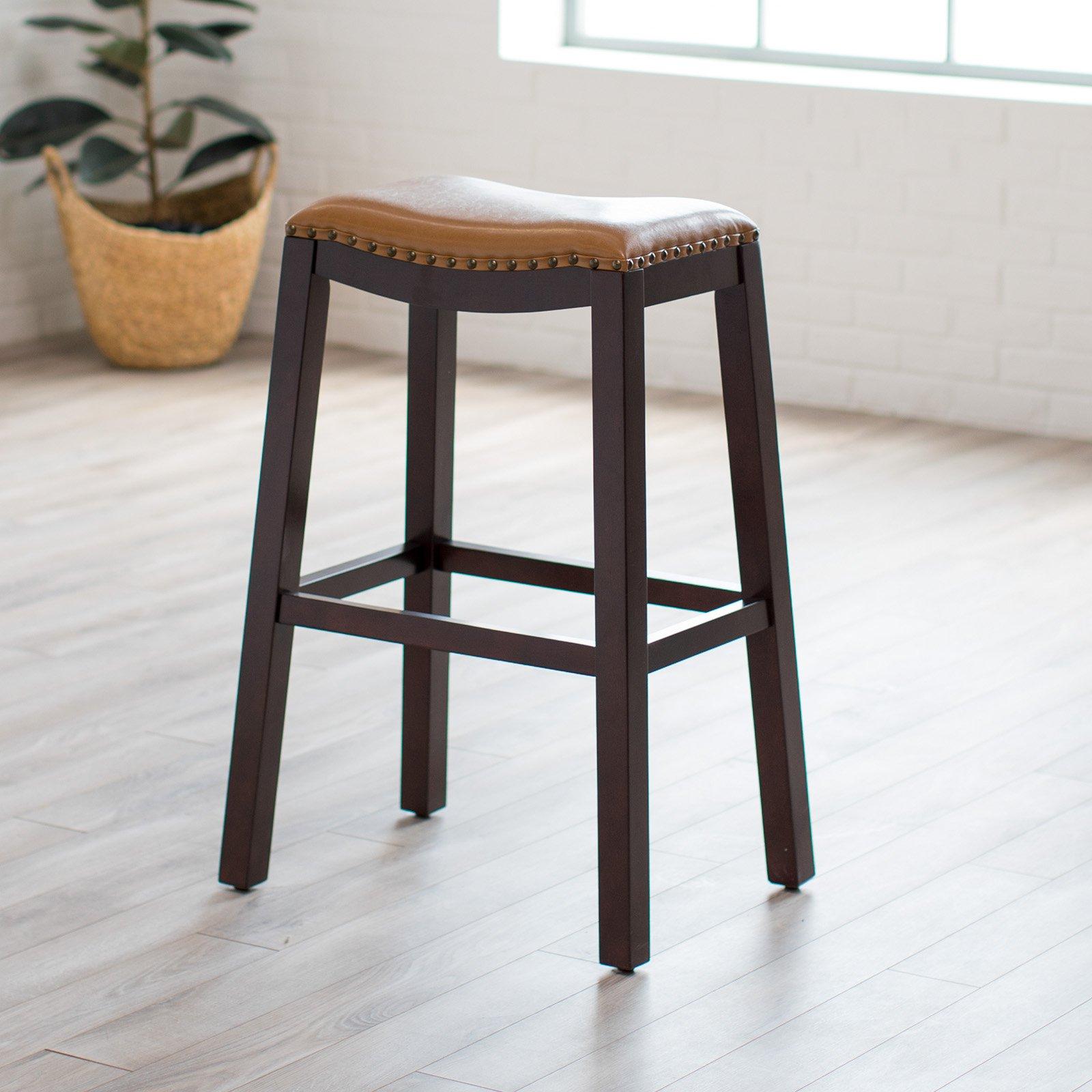 Belham Living Hutton Leather Backless Saddle Counter Stool: Belham Living Hutton Backless Extra Tall Bar Stool
