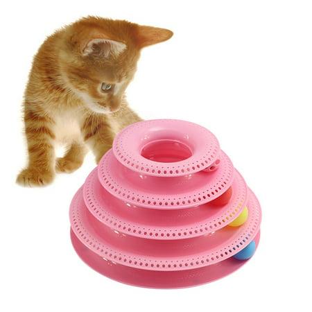MarinaVida Pet Cat Interactive Toy Funny Three-Layer Turntable Intelligent Track Tower