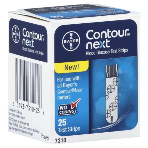 Bayer Contour Next Glucose Test Strips No Coding 25 Test Strips