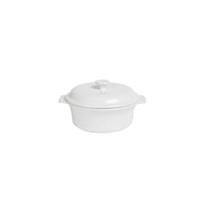 Anchor Hocking 95923 Ceramic 1.5 Qt. White Covered Casserole Dish by Oneida