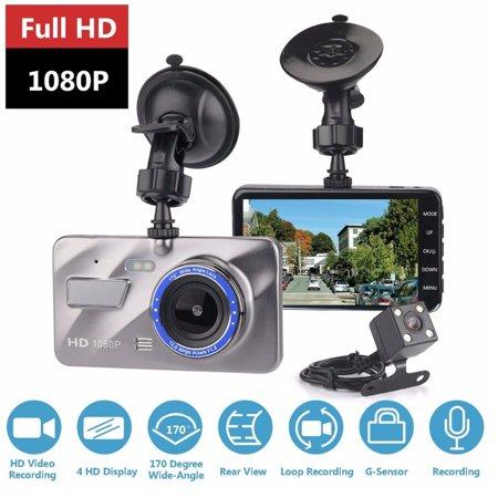 "4"" HD 1080P Dual Lens Car DVR Camera Video Dash Cam Recorder Front and Rear Car Dashboard Support G-sensor 170 Degree"