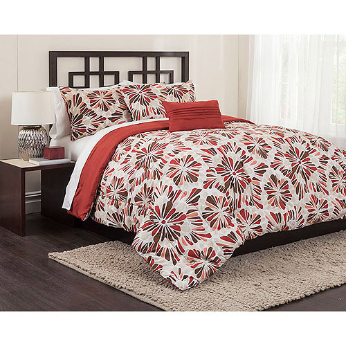 Gibson 5-Piece Bedding Comforter Set, Red
