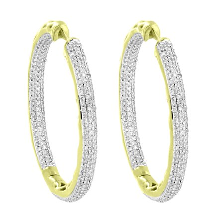 35m XL Hoops 10k Yellow Gold Earrings Huggies Clip On 1.50 Carat Real Diamonds Women