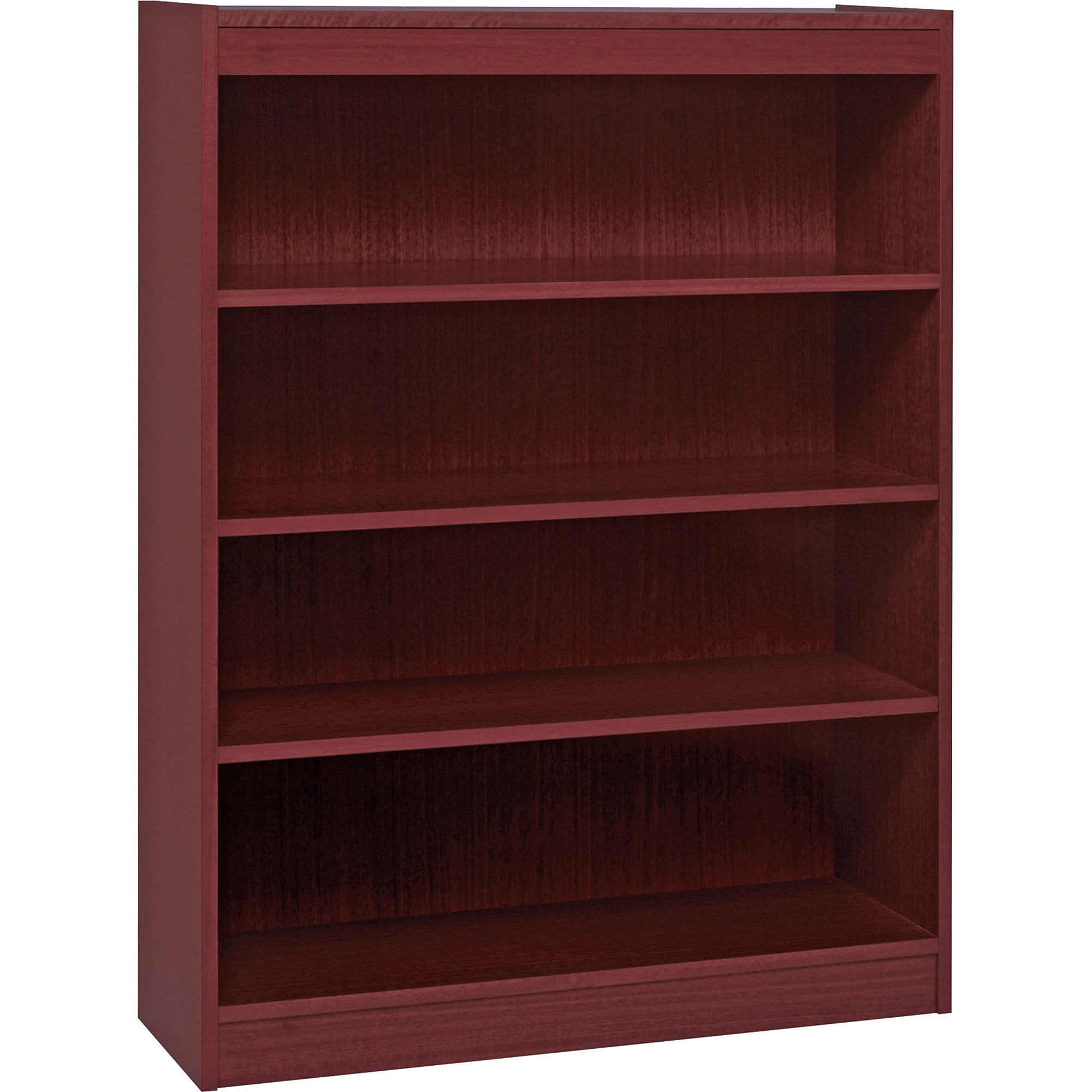 Lorell, LLR60072, Panel End Hardwood Veneer Bookcase, 1 Each, Mahogany