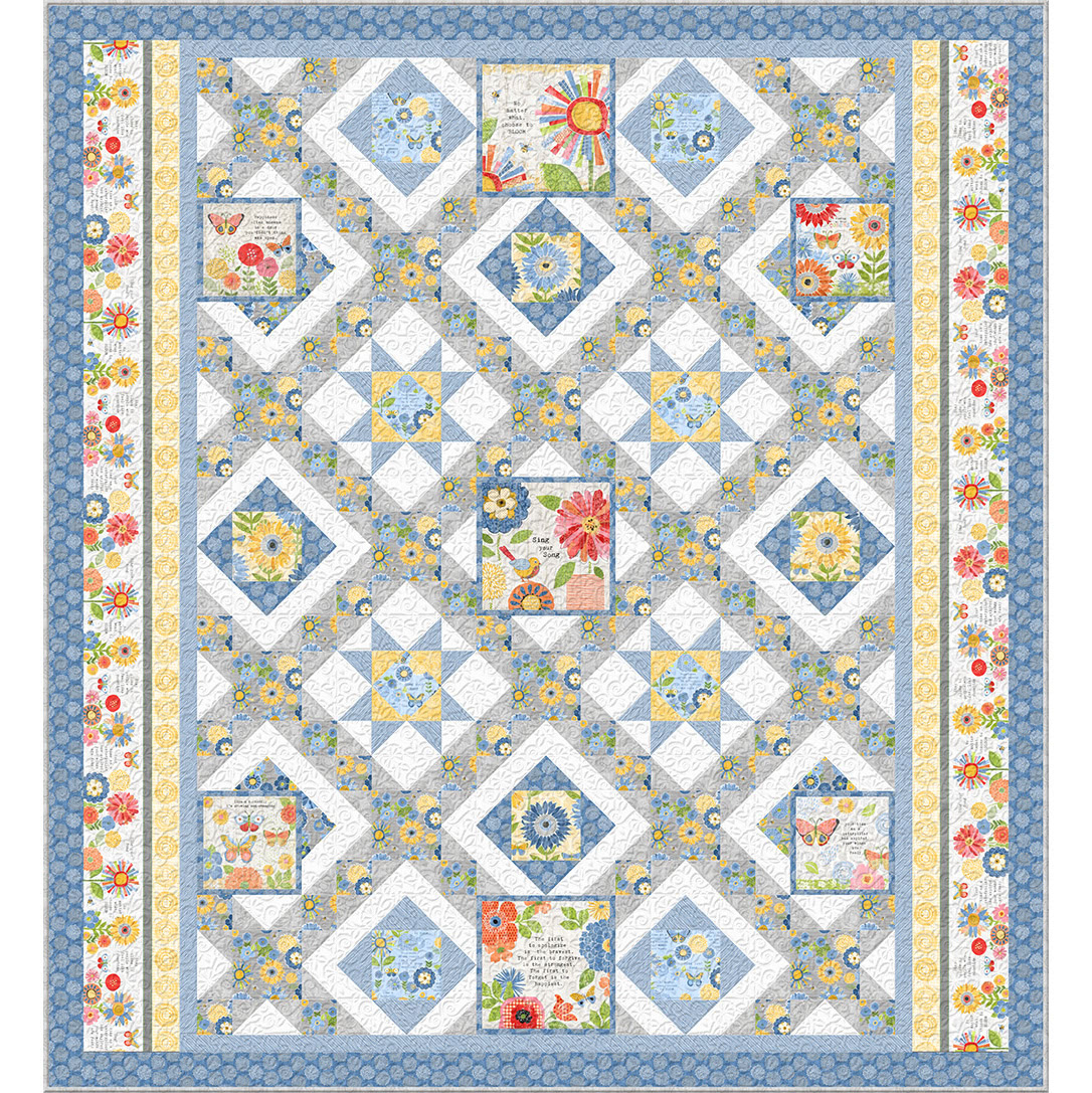 Wilmington Prints Anne Rowan Sing Your Song Blue Quilt Kit 85.5 by 93 inches