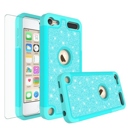 Apple iPod Touch 7 Case, Touch 5, 6, 7th Generation Cover, Luxury Glitter Bling Hybrid Case w/ [HD Screen Protector] Cover - Teal